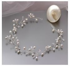 Freshwater Pearl & Swarovski Crystal Halo Wedding Hair Vine Bridal Accessory UK