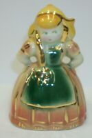 Beautiful Little Vintage Dutch Girl Figural Planter Vase with Gold Trim