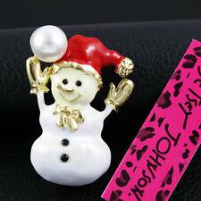 Charm Brooch Pin Xmas Gift Betsey Johnson Cute Enamel Christmas Snowman