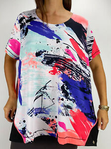 TAKING SHAPE Active Multicoloured Print Zip Activewear Top Plus Size L AU 20 Gym