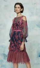 $595 NEW Marchesa Notte Eyelet Organza Dress Navy Blue  Pink Embroidered  0 2