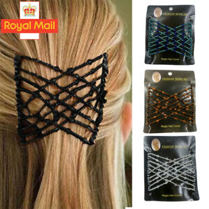 Women's Easy Magic Beads Double Hair Grip Clip Comb Stretchy Hairpins Combs NEW