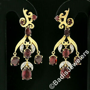 Vintage 18k Gold 11.9ctw GIA Red Pyrope Garnet & Diamond Flower Dangle Earrings