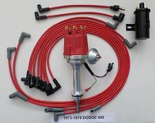 small cap DODGE 1973-78 400 RED HEI Distributor+BLACK 45K Coil+Spark Plug Wires