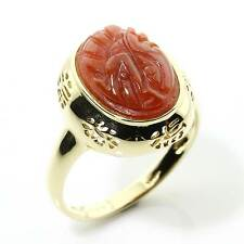 Fin Style Chinois Poinçonnée 14 carats Rouge Or Jade Bague Taille/9 16NHIS