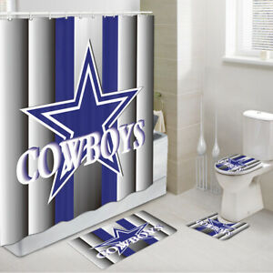 COWBOYS Shower Curtains with Rug Set, Dallas Cowboys Bath Rug & Toilet Mat 4PCS