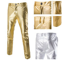 Men's Straight Skinny Slim Fit Suit Glitter Pants Elastic Casual Long Trousers
