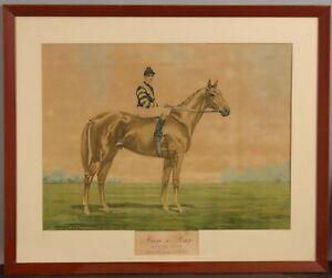 1921 Antique J. Martin MAN O'WAR Thoroughbred Racehorse Chromolithograph Print