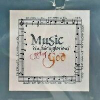 1987 NIP Counted Cross Stitch Embroidery Kit Music-Gift Of God 10x10 Picture7601