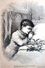 Thomas Nast PRAYING to GOD for CHRISTMAS Presents SANTA CLAUS 1884 Matted Print