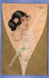 BEAUTIFUL 1910c PRETTY GIRL ART DECO EMBOSSED SIGNED RAPHAEL KIRCHNER POSTCARD
