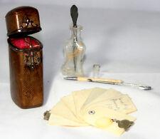 ORIGINAL ANTIQUE c1870~~6PC LADIES SEWING COMPANION LEATHER CASE~~ETUI;