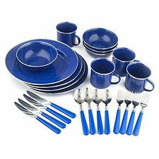 Camping Enamel Tableware Plate Set Blue 24 Piece Dinnerware Dishes FREE SHIPPING