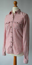 Ladies Hollister California Red & White Striped Shirt / Top Size XS  Uk 8 / 10