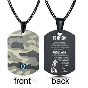 To My Son Men Necklace Pendant Dog Tag Camouflage Cubic Zirconia fr Dad Mom Gift