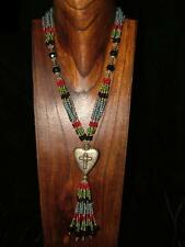 NECKLACE BEADS HEART CROSS ETHNIC INDIA HIPPIES GIPSY VINTAGE BOHO