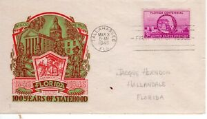 927 Florida Centennial FDC First Day Tallahassee Florida Staehle cachet