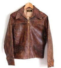 Vtg 1940s Custom Made Half Belt Leather Sports Motorcycle Jacket Small / Medium
