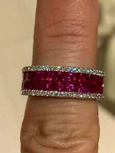 2.50Ct Princess Cut Red Ruby Half Eternity Wedding Band Ring 14K White Gold Over