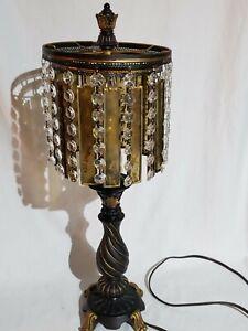 Dimond Lighting 93-090 Amber & Crystal 22 in 100 watt Black/Gold Leaf Table Lamp
