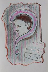 COCTEAU Jean : Le doute de Pierrot - LITHOGRAPHIE Originale signée, 1967 MOURLOT