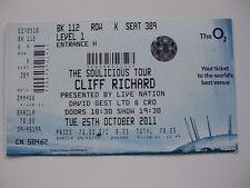 CLIFF RICHARD  O2  LONDON  25/10/2011 TICKET