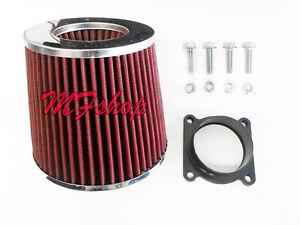 RED Air Intake Filter + MAF Sensor Adapter W/screws For 03-06 Infiniti G35 3.5L