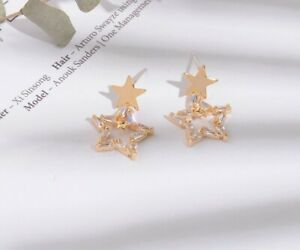 925 Sterling Silver Crystal CZ Star Gold Stud Dangle Earrings Women Fashion PE30