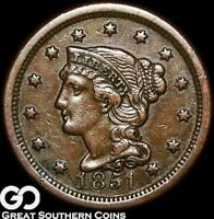 1851 Large Cent, Braided Hair, Choice AU Early Copper