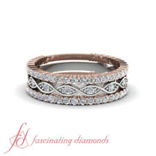 3/4 Carat Round Cut Multi Tone Infinity Diamond Stack Ring Sets For Women
