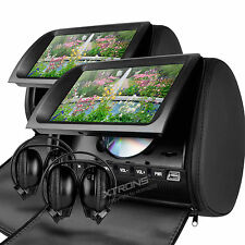 "XTRONS 2 X 9"" Black Car headrest Digital Double Twin Screen DVD player 2 headset"