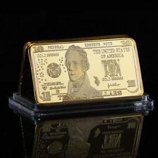 WR USD Banknote US America $10 Ten Dollar Bill 999 Fine GOLD Clad Bar Collectors