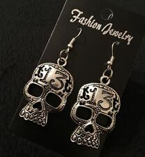 Large Sugar Skull Earrings Day Of The Dead Silver Unusual Gothic Vintage Flower