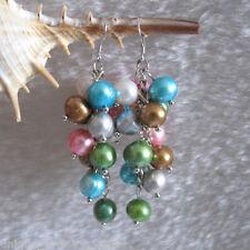 Earrings Dangle Earrings D8S L 8.0-9.0mm Multi Color Freshwater Pearl