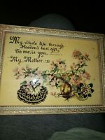 Vintage To Mother Inspirational Poem Motto Saying Reverse Painted / concave glas