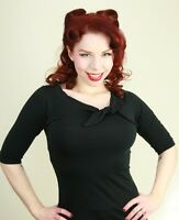 Heart of Haute Black Lily Top 3/4 Sleeve 50s Rockabilly PinUp Vintage Bow XS-3XL