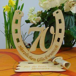 70. Geburtstag  Tischdeko Geldgeschenk Personalisiert Hufeisen Holz Gutschein