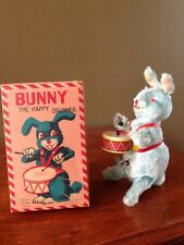"Vintage Fuzzy Wind Up Toy EASTER BUNNY ""the Happy Drummer"" Made in Japan By ALPS"