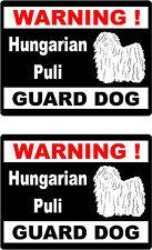 2 warning Hungarian Puli guard dog car bumper home window vinyl decals stickers
