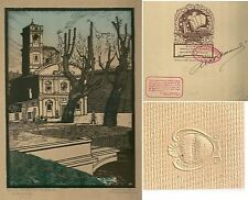 1930 TORINO MADONNA DEL PILONE ACQUALAGNA Xilografia M. Alessandri numerato