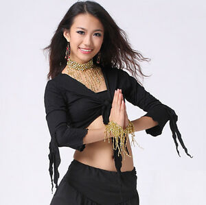 Sexy belly dance Flared Sleeve Blouse Top Bra 9 Colours