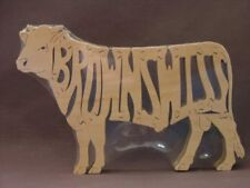 Brown Swiss Cattle Cow Bull Amish Made Wood Puzzle Toy