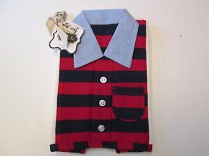 Mud Pie Red/Navy Striped Polo Style Burp Cloth, NWT