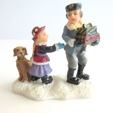 """Christmas Village People Figurine BOY GIRL PUPPY DOG GIFTS  2 1/2""""  Resin"""