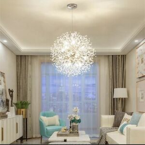 Chrome Ambient Chandelier light Pendant Lamp With Crystal Round 9 Light Led