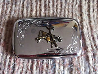 VINTAGE COWBOY BULL RIDER RODEO BRASSTONE RIDER+BULL POLISHED BELT BUCKLE