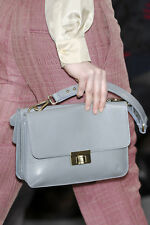 MARNI HANDBAG BLUE GRAY LEATHER TURNLOCK CONVERTIBLE CLUTCH BAG DOUBLE FLAP