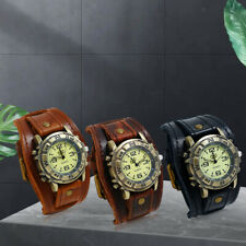 Fashion Wristwatch Wide Leather Strap Watch Band Men's Punk Vintage Style Watch