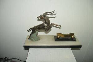 Statue Sculpture Art Deco Regulates Antelope Base Marble + Display 20 X 42 CM