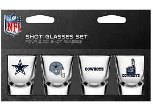 Dallas Cowboys NFL 2 oz Shot Glasses Set 4 Pack